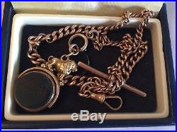 9ct gold albert watch chain t bar rose gold graduated hallmarked links 32g c1800