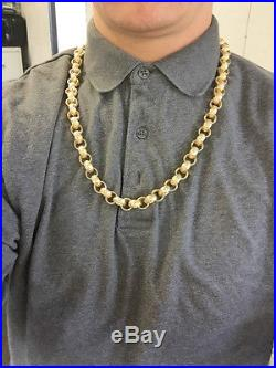 9ct gold belcher chain patterned and plain 155.6 grams 26.25 inch full hallmark