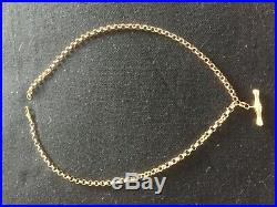 9ct gold belcher chain with t bar 18 inch, is in excellent condition