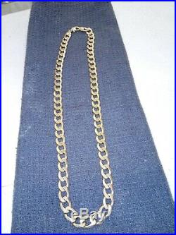 9ct gold chain 24 inch solid curb 91 gram. 3.2 ounce
