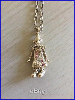 9ct gold clown pendant and chain with pink/white stones, Moveable arms and legs