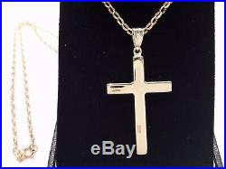 9ct gold cross & chain mens ladies hallmarked 375 gift boxed 20 chain