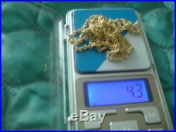 9ct gold diamond cut rope chain 90 cms