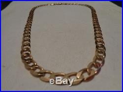 9ct gold flat curb chain necklace 20 inch long 30.8 grams full UK hallmarks