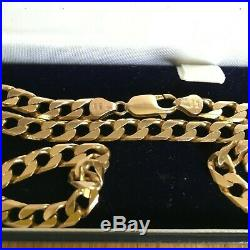 9ct gold flat curb neck chain