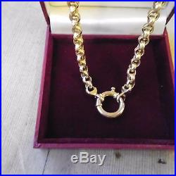 9ct gold ladies belcher chain with large clasp weight 18.3 grams hallmarked