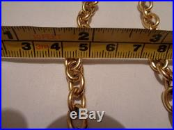 9ct gold love heart & T bar chain necklace 18 inch long 15.4 grams