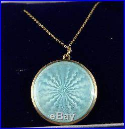 9ct gold pearl set blue enamelled pendant on 16.5 inch 9ct chain Weighs 5.7 grms