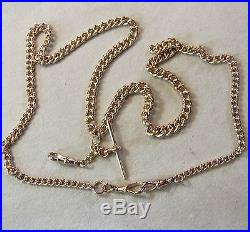 9ct gold second hand antique heavy long solid double albert chain
