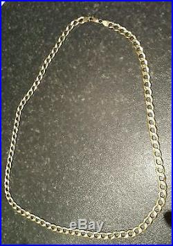 9ct gold solid chain 22inch long not scrap. 28 grams