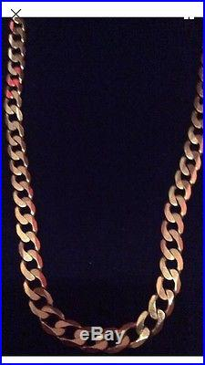 9ct gold solid curb chain 22 inch length 31.5 grams