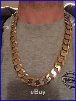 9ct gold solid curb chain necklace heavy chunky mens 238g