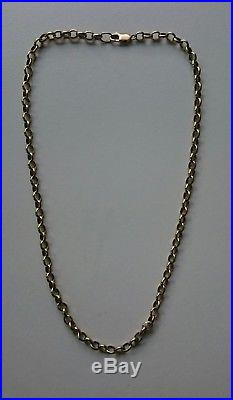 9ct gold vintage oval link belcher chain 23 inch length heavy 35.9 grams