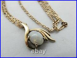 9ct gold white Opal pendant + 9ct gold Anchor link chain Necklace 375 9k