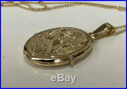 9ct solid gold engraved locket pendant & 9ct gold Chain necklace 5.36g