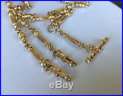 9ct solid gold fancy link fob chain with T-Bar 33.47g / 52cm