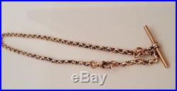 9ct solid rose gold pocket watch chain with T-Bar 9.0g