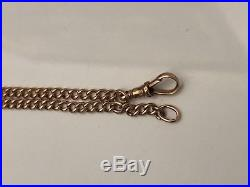 9ct solid rose gold pocket watch curb link fob chain 20.62g