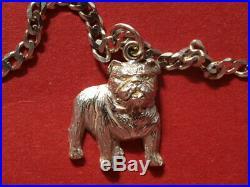 9ct white gold Bulldog Pendant on 9ct gold curb chain 13.10 grams