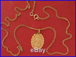 9ct yellow gold St Christopher Pendant on 9ct gold chain 6.60