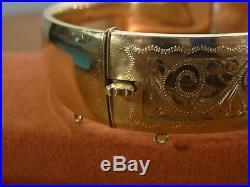 9k 9ct Gold 1/5 Metal Core Wide Vintage Etched Bangle. 19.1mm, 7.1cm 48.77g