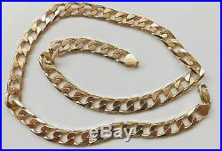 A HEAVY SOLID 9ct GOLD 59.6g 20 INCH CURB CHAIN