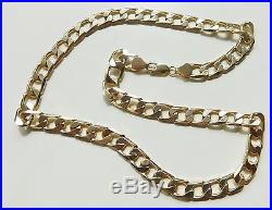 A SOLID 9ct GOLD 58.6g 20 INCH CURB CHAIN