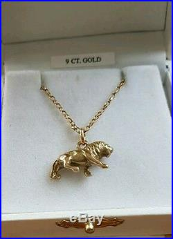 A very nice 9ct gold lion pendant on a Diamond cut Belcher chain Leo birth sign
