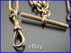 ANTIQUE 9ct GOLD BATON & CABLE ALBERT WATCH CHAIN Necklace C1900 16 1/2 inches