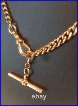 ANTIQUE 9ct ROSE GOLD ALBERT WATCH CHAIN 375 STAMPED LINKS T-BAR SWIVEL HEAVY