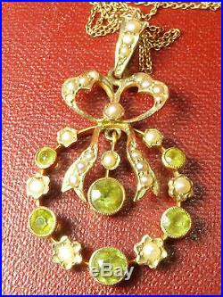 Antique Edwardian 9ct Gold Pearl Peridot Lavaliere Pendant Necklace & Chain