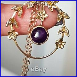 ANTIQUE EDWARDIAN 9ct GOLD Necklace Lavalier Seed Pearl Amethyst Pendant & Chain