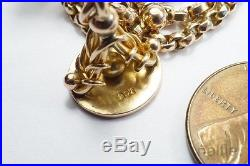 ANTIQUE ENGLISH 9ct GOLD ALBERTINA WATCH CHAIN BRACELET with SEAL FOB, T BAR etc