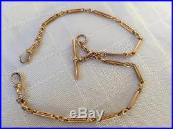 ANTIQUE SOLID 9CT GOLD DOUBLE ALBERT POCKET WATCH CHAIN CIRCA 1900 NO RESERVE