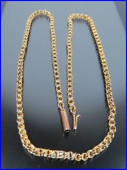 ANTIQUE VICTORIAN 9ct GOLD DOUBLE BELCHER LINK NECKLACE CHAIN C. 1880 17 inch