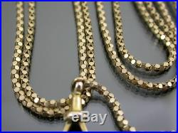 ANTIQUE VICTORIAN 9ct GOLD FLAT POPCORN LINK LONG GUARD CHAIN C. 1880 60 inch
