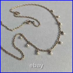 ANTIQUE VINTAGE 9ct GOLD CULTURED SEED PEARL NECKLACE CHAIN 17.5