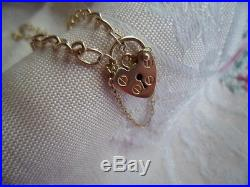 ANTIQUE VINTAGE 9ct GOLD HEART PADLOCK CLASP 9 CT BRACELET WITH SAFETY CHAIN