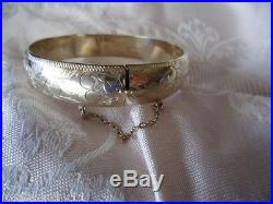 ANTIQUE VINTAGE STERLING SILVER and 9 ct GOLD VICTORIAN LEAF BANGLE SAFETY CHAIN