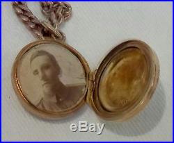 ANTIQUE c1914. 9ct GOLD LOCKET & ROSE GOLD BELCHER CHAIN NECKLACE 18gms CHESTER
