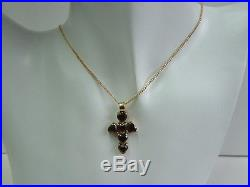 Amazing 9ct Gold Heart Garnets Cross Pendant On Chain
