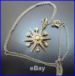 Antique 15ct Gold Seed Pearl Star Snowflake Pendant on 9ct Gold Chain