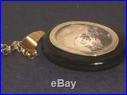 Antique 18 Carat Gold Jet Picture Locket Pearl Initials WE EW in Memory of