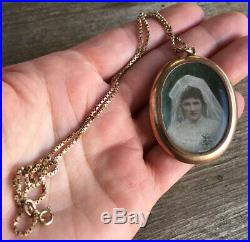 Antique 1900 Large Australian 9ct Rose Gold Locket & Matching Solid Gold Chain