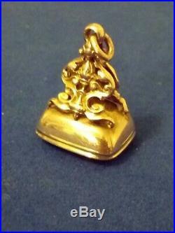 Antique 1904 Pocket Watch Chain FOB Hall Mark B/ham 9ct Gold / Blood stone Nice