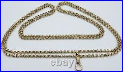 Antique 54 inch long 9ct yellow gold muff guard chain necklace Weighs 32.4 grams