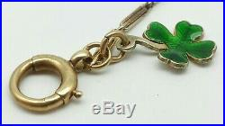 Antique 9 Ct Gold Fancy Albert Watch Chain & Gold Enamel Shamrock Lucky Charm