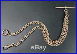 Antique 9 Ct Rose Gold Double Clip Curb Link Pocket Watch Albert Chain 36.8 G