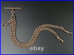 Antique 9 Ct Rose Gold Double Clip Pocket Watch Albert Chain C. 1900 33.8 Grams