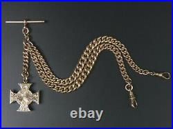 Antique 9 Ct Rose Gold Double Clip Pocket Watch Albert Chain & Locket Fob-58.8 G